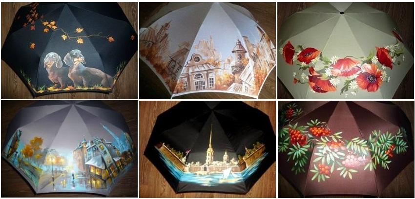 Зонты, расписанные вручную