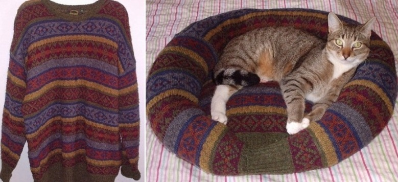 Что можно сделать из старого свитера для кошки