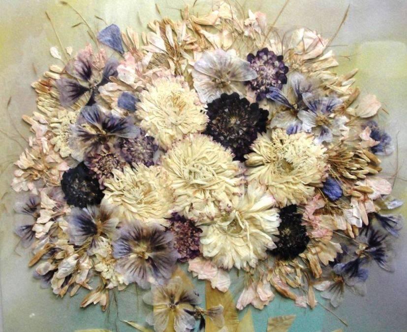 Картины из сухоцветов своими руками фото пошагово 68