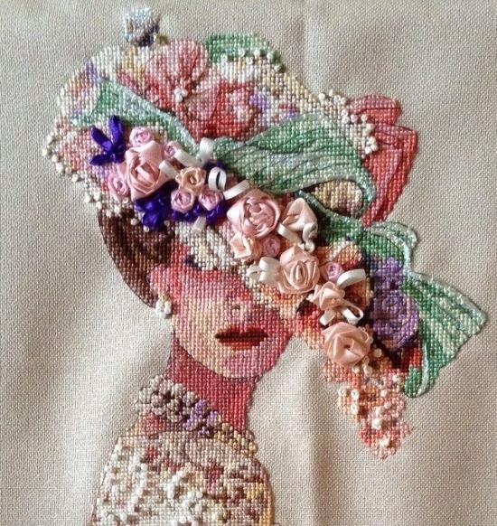 Вышивание крестом дамы в шляпе - бисер, ленты, лён.